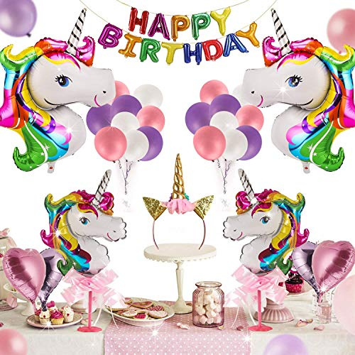 Ideapark Einhorn Luftballons, Einhorn Party Dekorationen Supplies Geburtstag Deko Party Dekoration Kit Alles Gute zum Ballon Banner Decko für Kleinkinder Mädchen Birthday Party Hochzeit 41 Stück