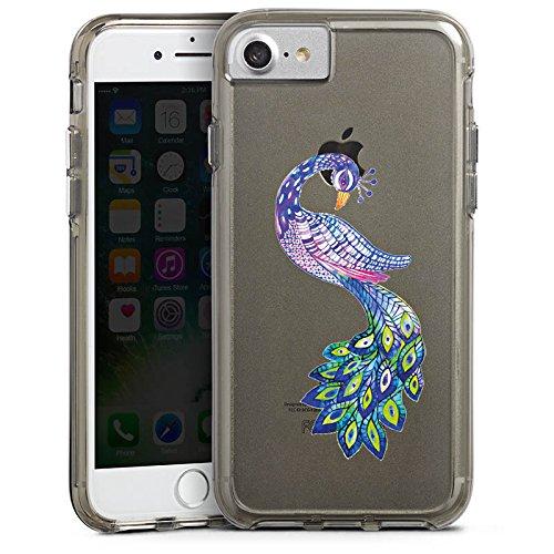 Apple iPhone 6 Plus Bumper Hülle Bumper Case Glitzer Hülle Pfau ohne Hintergrund Feder Bumper Case transparent grau