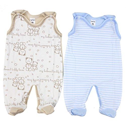 TupTam Unisex Baby Strampler Baumwolle Gemustert 2er Set, Farbe: Farbenmix 4, Größe: 74
