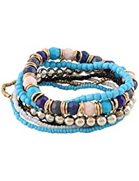 Young & Forever friendship day gifts for best friend raksha bandhan gifts for sister & brother Boho Gypsy Bohemian Multilayer Beads Bracelet Set of 7 Strands Bracelet for Girls/Women Party Wear/Daily Wear Fashion Jewellery