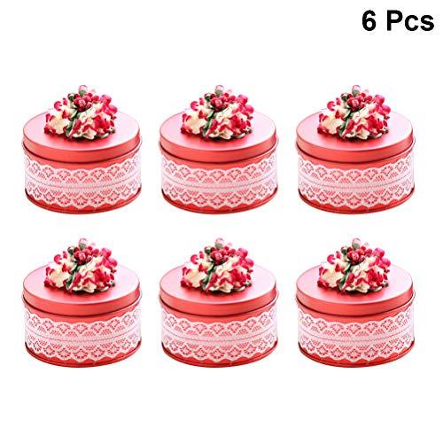 (BESTOYARD 6 stücke Spitze pralinenschachtel geschenkbox für Hochzeit brautdusche Baby Shower Geburtstagsfeier größe s (rot))