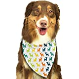 Hipiyoled Color Dog Silhouettes Adjustbable Collars Pet Bandana Bibs for Puppy Cats