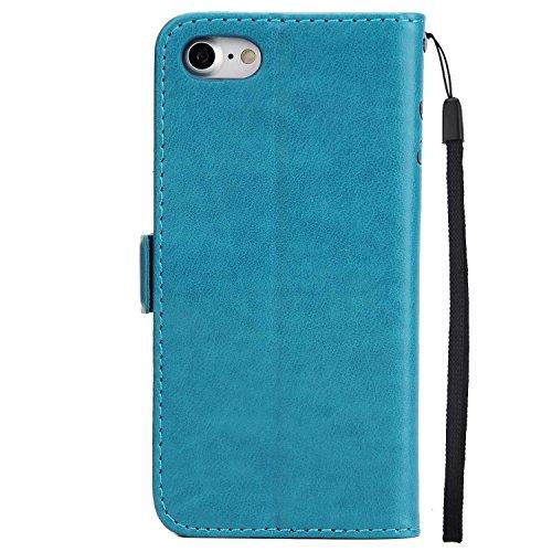 Coque iPhone 7, MSK® Étui Gaufrage [Fille Papillon] Housse Etui Coque Pour iPhone 7 Case Folio Portefeuille avec Fermeture Aimanté Protection Cover - Vert Bleu