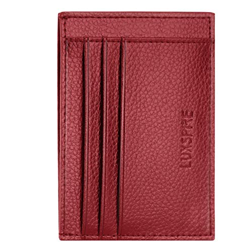 Luxspire Front Pocket RFID Blocking Leather Slim Wallet, Money Clip, Credit Card ID Card Business Card Holder Purse, Wine Red - Wallet Slim-credit Card Womens