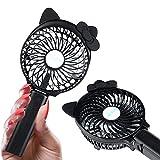 JHM Mini Portable Handheld Fan Battery Operated Cooling Fan Electric Personal Fan Foldable Desktop Fan for Home and Travel (Black/ cat ears)