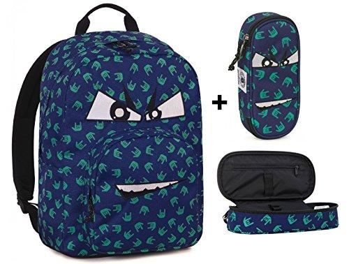 Zaino invicta - ollie pack face + astuccio portapenne lip face - blu rock - tasca porta pc padded - americano 25 lt