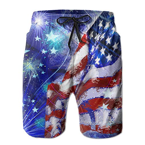 af80027bae Fashion Men's Beach Pants Men's Happy 4th July USA Flags Summer Water  Sports Beach Shorts,