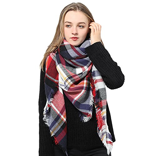 Schal Damen Scarf Winterschal Damen Langer Schal Winterschal Damen, Mehrfarbig (Black/Red/White Assorted), Gr. Einheitsgröße (Red Neck Square)