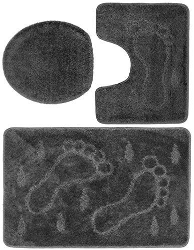 3 teiliges Badgarnitur Set Füße Muster mit Ausschnitt - Badteppich 85x55 Badematte (Grau)