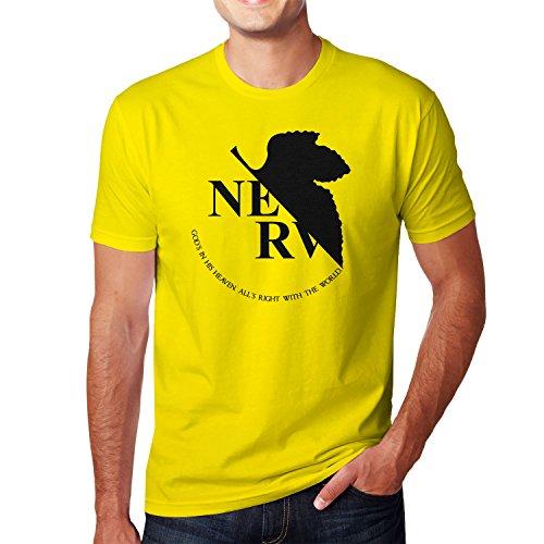 Planet Nerd NGE: NERV Logo - Herren T-Shirt, Größe XXL, gelb