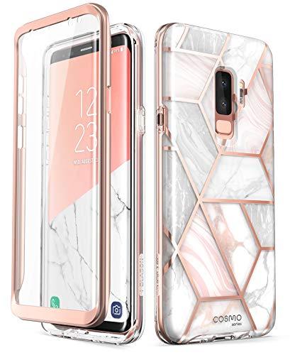 i-Blason Hülle Kompatibel für Samsung Galaxy S9 Plus Glitzer 360 Grad Handyhülle Bumper Case Glänzend Schutzhülle Full Cover [Cosmo] mit integriertem Displayschutz, Marmor