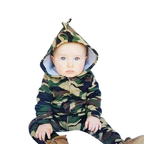 Baby Kleidung, QinMM Neugeborenes Baby Junge Mädchen Kapuze Overall Kleidung 0 -24 Monate (0-6M, Grün)