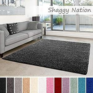 Shaggy-Teppich | Flauschiger Hochflor für Wohnzimmer, Schlafzimmer, Kinderzimmer oder Flur Läufer | einfarbig, schadstoffgeprüft, allergikergeeignet | Dunkelgrau - 60 x 90 cm