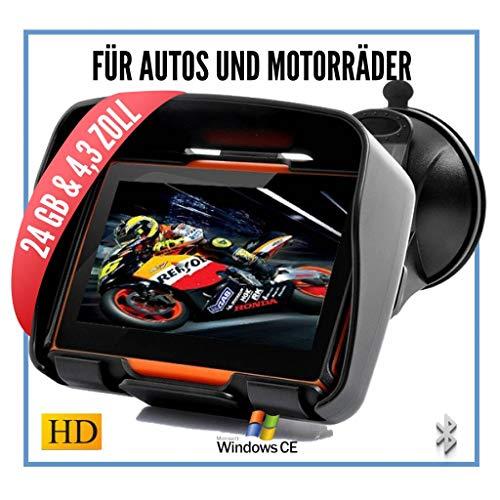 Elebest Rider W4 Navigationsgerät 4,3 Zoll für PKW & Motorrad,Wasserdicht,GPS,Navigation Bluetooth,Kostenlose Kartenupdate,Neuste Europa Karten sowie Radarwarner,24GB Speicher