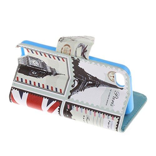 Voguecase® Pour Apple iPhone 6/6s 4,7 Coque, Étui en cuir synthétique chic avec fonction support pratique pour iPhone 6/6s 4,7 (papillon bleu 15)de Gratuit stylet l'écran aléatoire universelle Architecture britannique