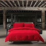 Beddingleer Copriletto Matrimoniale Inverno 4 Pezzi  in 100% Cotone 220 x 240 cm,  Stile Nordico Rosso