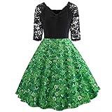 Makefortune Mode Kleid Elegantes Spitze-Patchwork-Kleid 1/2 Ärmel A-Linie Kleid Cocktailkleider