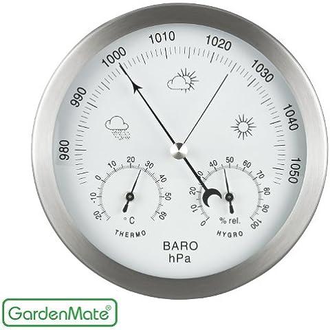 GardenMate Estación meteorológica analógica 3 en 1 con marco de acero inoxidable.