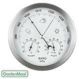 GardenMate Station météo analogique 3 en 1 cadre en acier inox Ø 14 cm baromètre thermomètre hygromètre