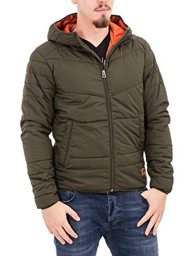 JACK JONES - Giubbotto giacchetto uomo con cappuccio bomb puffer camp yo m verde scuro