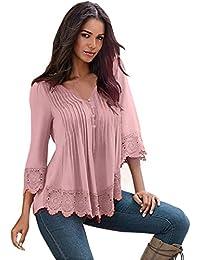 Overdose Women Blouse Lace Crochet Long Sleeve Shirt Casual Tops