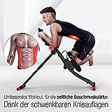 TESTSIEGER Sportstech BT300 Profi Bauchtrainer mit schwenkbarer Knieauflage für seitliche Bauchmuskeln, S-Form Schiene, 25 Einstellmöglichkeiten + Widerstandsbänder inkl. AB Shape Trainer für Sixpack - 3