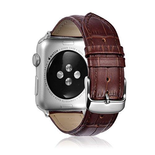 Uhrenarmbänder Kompatible für Apple Watch 44mm Serie 4 Armband Leder Krokodil Muster Ersatz Armband Band Silber Dornschließe Adapter für Männer Frauen-Braun
