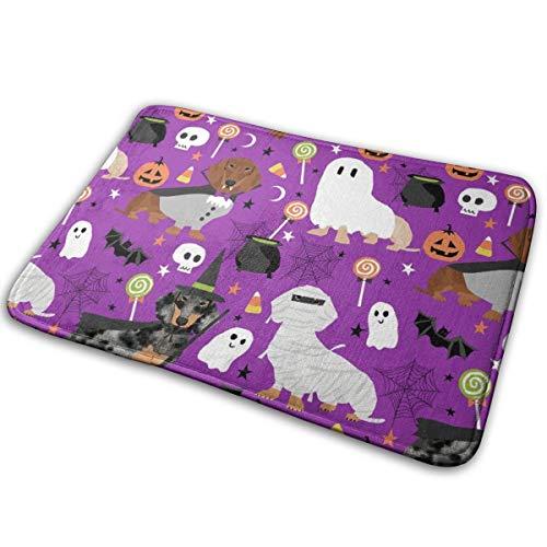 OOworld Fußmatte Benutzerdefinierte maschinenwaschbare Fußmatte Dackel Halloween Stoff Hund Hunde Stoff Doxie Halloween Spooky Ghost Stoff - Lila Indoor/Outdoor 16 x 24 Zoll, 40 cm x 60 cm