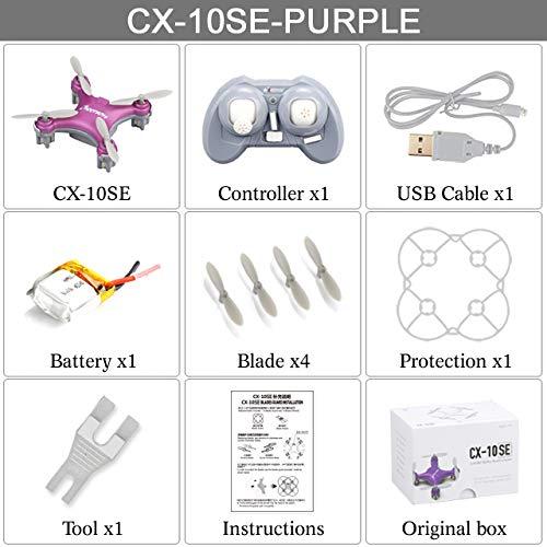 XuBa CX-10SE Mini Dron Quad Copter Pocket Drone Remote Control Kinderspielzeug 4CH 3D Flips RC Nano Quadcopter Hubschrauber RTF Rose (Rtf-mini-quad)
