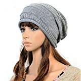 Frau Wintermütze Damen Wollmütze Weiche Warme Woll Strick Lady Hat Baggy Hat (grau)