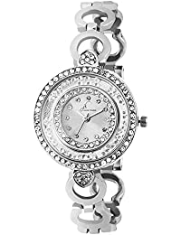 Jack Klein Shiny Stone Dial with Silver Metal Strap Wrist Watch for Women