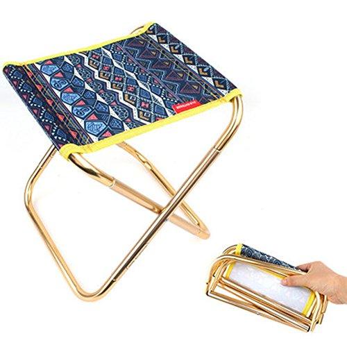 Bbyaki Outdoor Folding Stuhl Folk-Custom-Stil - Space Aluminium Camping Breathable Angeln Stuhl Portable Train Camping Mazar Barbecue Klappstuhl,Blue (25 Hohen Hölzernen Sitz)