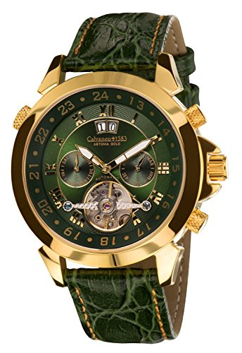 Calvaneo Astonia Luxury 1583 Men's Watch Brit Annic Automatic Gold Dial Analogue Display and Green Leather 107923