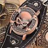 Dailyinshop Montre-Bracelet pour Homme en Cuir avec chaîne de tête de Mort en métal pour Motards (Couleur: Multicolore)