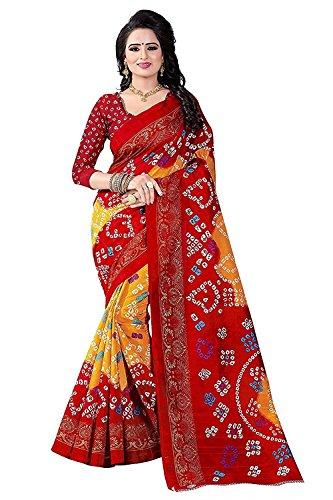 Calendar Women's Bhagalpuri Silk Red & Orange Color Saree With Unstitched Blouse...