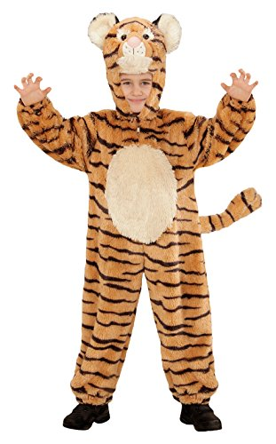 Widmann 98113 - Kinderkostüm Tiger aus Plüsch, Overall mit Kapuze und Maske