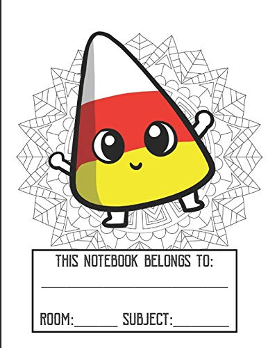 ng Cover Notebook: Fun Halloween Candy Corn Character Gold Glitter Print Effect Background, Large Lined Notebook For School Homework, Studying, Classes or Note Taking ()
