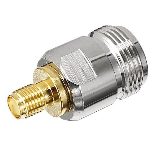 Sourcingmap Silber Gold Ton SMA Buchse auf N Buchse Jack RF Koax Adapter Stecker Interconnect Kit