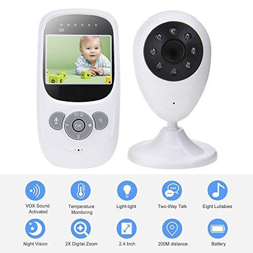 TKSTAR Baby Monitor Babyphone Video mit kamera,Wireless 2,4 GHz Audio Baby Monitor Babyphone mit Nachtsicht 2-Wege-Talk Temperaturerkennung TB880 Weiß