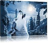Heulender Wolf vor Mondlicht, Bild auf Leinwand, XXL riesige Bilder fertig gerahmt mit Keilrahmen,...