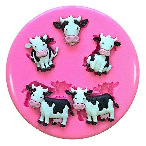 (Niedlich Milch schüchtert Hof Tiere Silikon Form für Kuchen Dekorieren, Kuchen, kleiner Kuchen Toppers, Zuckerglasur Sugarcraft Werkzeug durch Fairie Blessings)