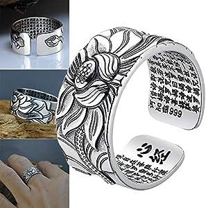 Gmxop 99 Silber Lotus Ring mit Herz Sutra Einstellbare Open End Fingerring Schmuck Geschenke