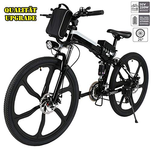 fiugsed Elektrofahrrad Mountainbike 26 Zoll E-Bike 36V, 250W Das-Kit Heckmotor, 21 Gang Shimano Gangsc (26 Zoll Schwarz) -