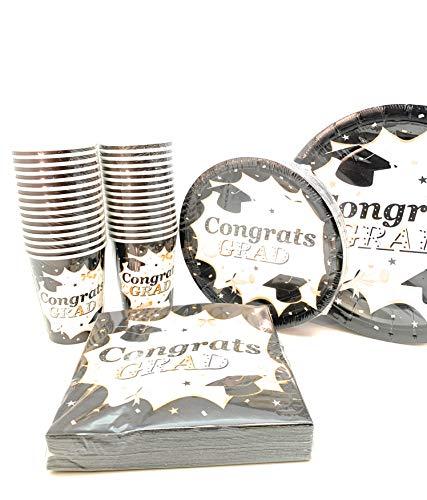 120PC Classic Graduation Value Pack Party Set enthalten 17,8cm Snack Dessert Teller 30Abendessen Teller 30ct 3-lagige Servietten 60ct dient 30 -