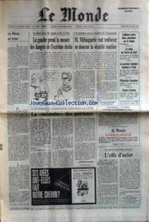 MONDE (LE) [No 13188] du 24/06/1987 - LA GAUCHE PREND LA MESURE DES DANGERS DE L'EXTREME DROITE M. MEHAIGNERIE VEUT RENFORCER EN DOUCEUR LA SECURITE ROUTIERE LA MEMOIRE DES PATRIOTES COLLISION ENTRE DEUX PETROLIERS SUR LA SEINE LA CRISE EN COREE DU SUD LE PREMIER MINISTRE TUNISIEN A PARIS LA MORT DE FRED ASTAIRE