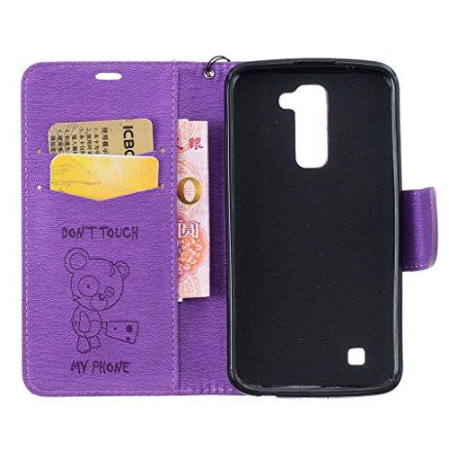 LG K10Fall [mit Tempered Glas Displayschutzfolie], fatcatparadise (TM) Anti Scratch Flip Soft Silikon Back Cover Case, elegante gepresst Cute Bear Muster Vintage Design Flip Folio Magnetic Premium PU violett