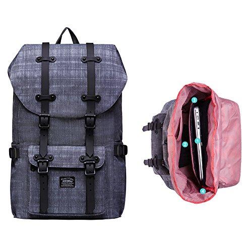 """Rucksack Damen Handgepäckrucksack Herren KAUKKO Backpack Schulrucksack KAUKKO 17 Zoll Laptop Rucksack für 15"""" Notebook Lässiger Daypacks Schultaschen of 2 Side Pockets für Wandern Reisen Camping (NGra 42grey"""
