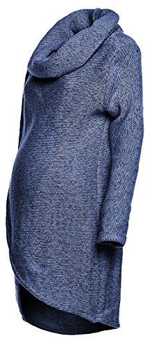 Happy Mama. Para Mujer Suéter Cruzado Diseño de Capa Premamá de Lactancia. 359p (Jeans Melange, EU 38/40, ONE SIZE)