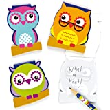 3 Little Owls Memo Pads 3 Assorted Designs 7.5cm x 6.5cm 30 Pages Party Bag Fillers, Children's Prizes- Pack of 6