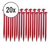 deiwo Zeltheringe Kunststoff 20er Set, rot, 30 cm, schlagfester Kunststoff, rot